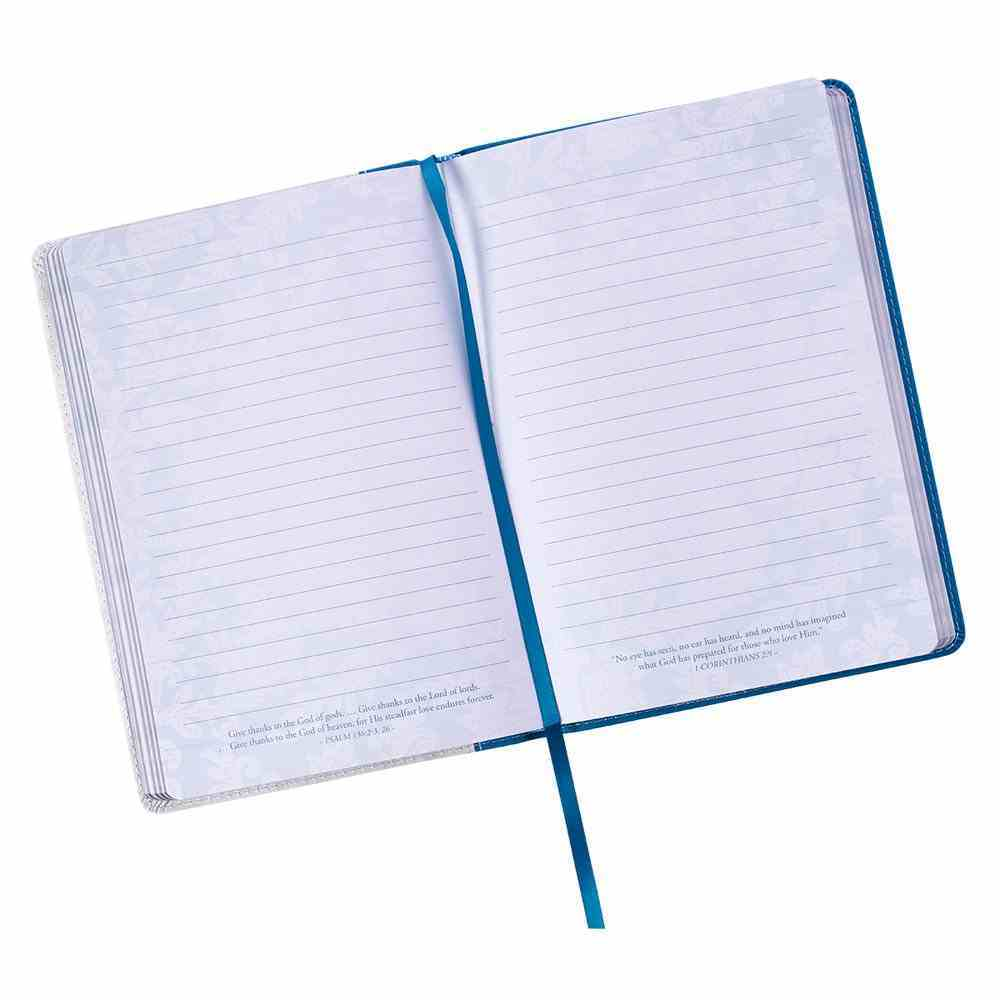 Journal: For We Live By Faith, Not By Sight Blue Flowers in Pot, Slimline (2 Cor 5:7) Imitation Leather