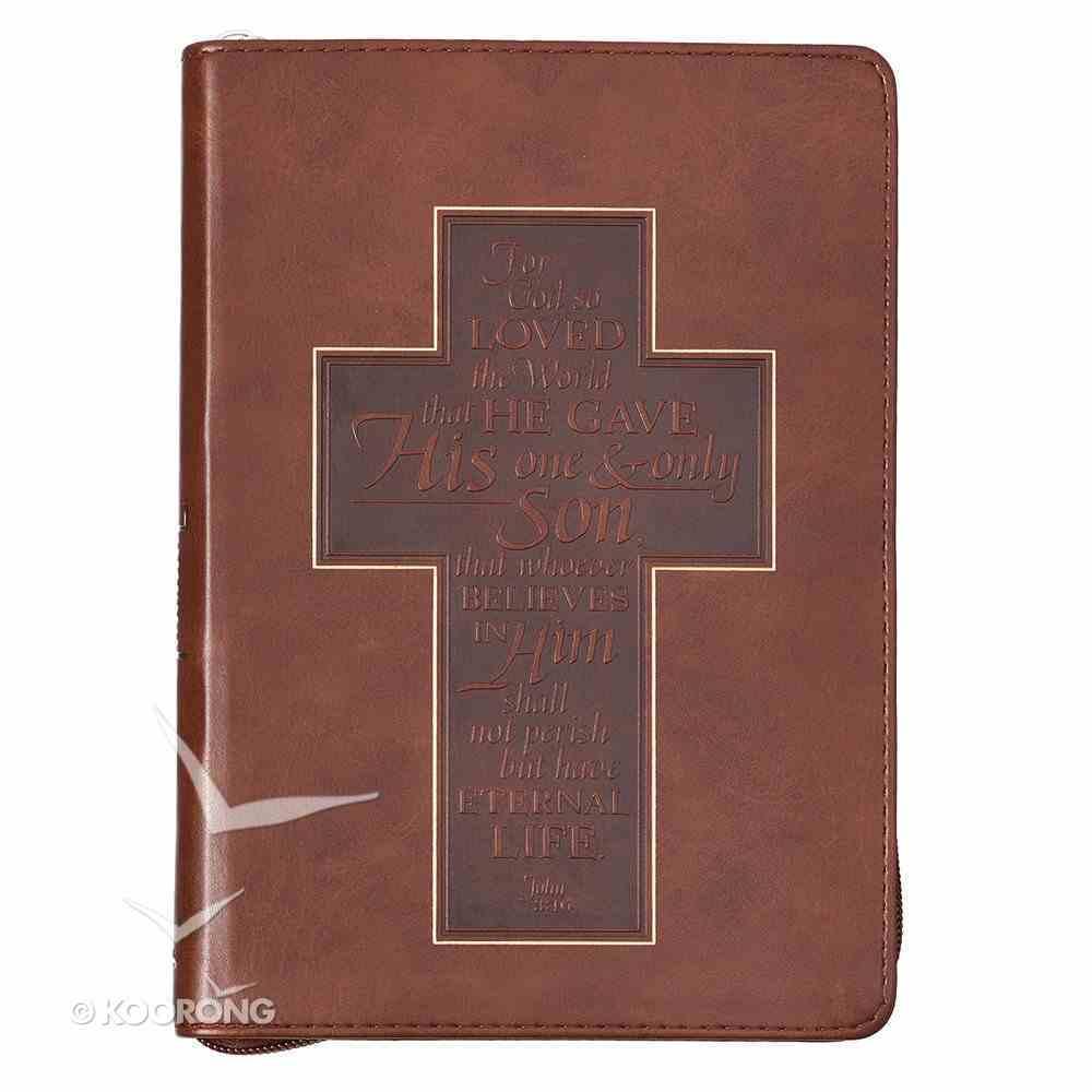 Classic Journal: John 3:16 Cross, Brown/Dark Brown Luxleather Imitation Leather