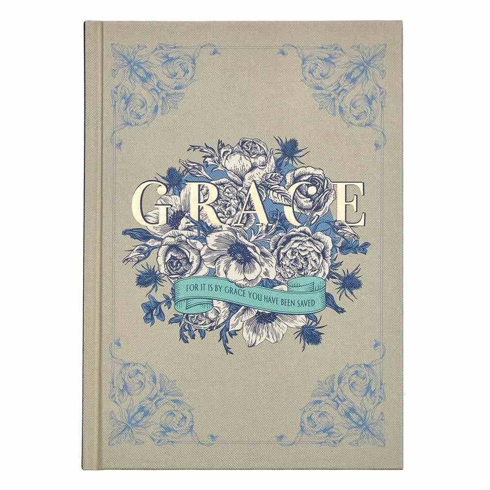 Journal: Grace, Blue/White Bouquet, Cream Linen (Ephesians 2:8) Hardback