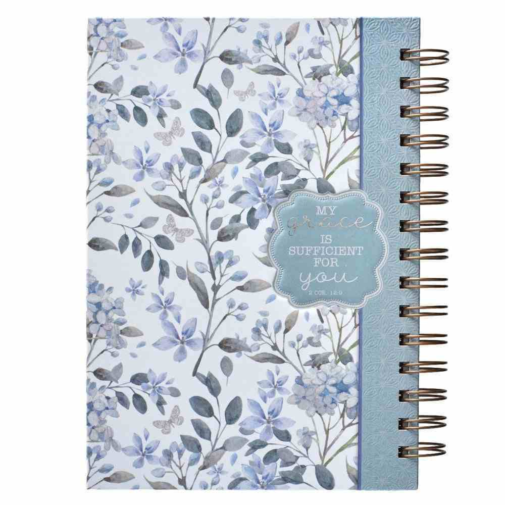 Spiral Journal: Grace, Blue/White Floral (Large) Spiral