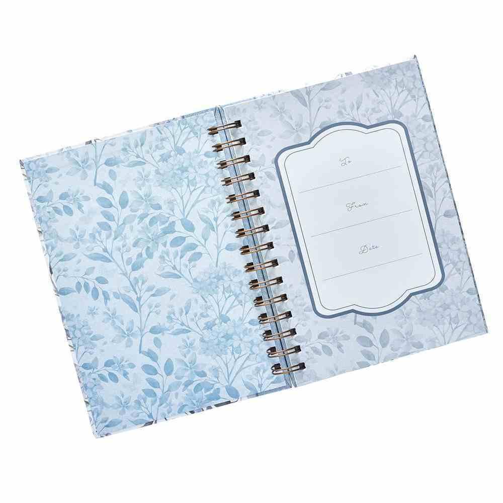 Spiral Journal: Grace, Blue/White Floral (Large) Spiral