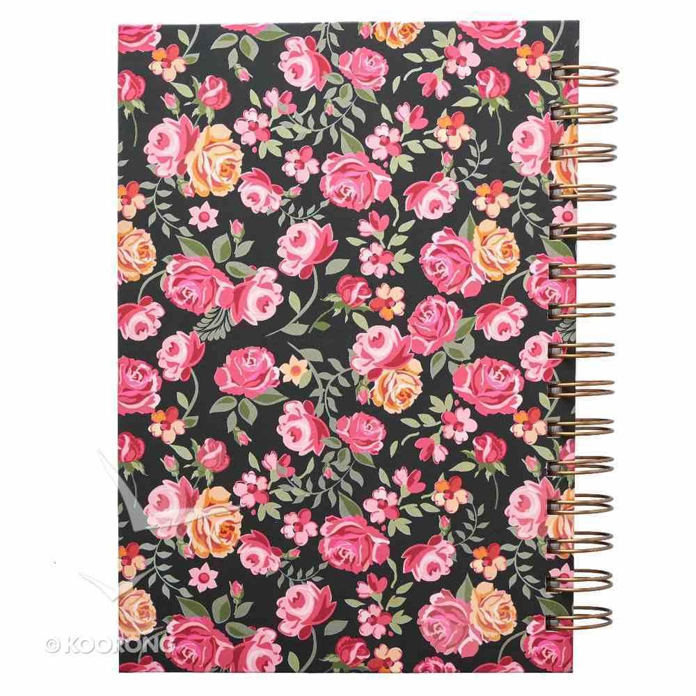 Journal: Serenity Prayer, Pink/Red Floral on Black Spiral