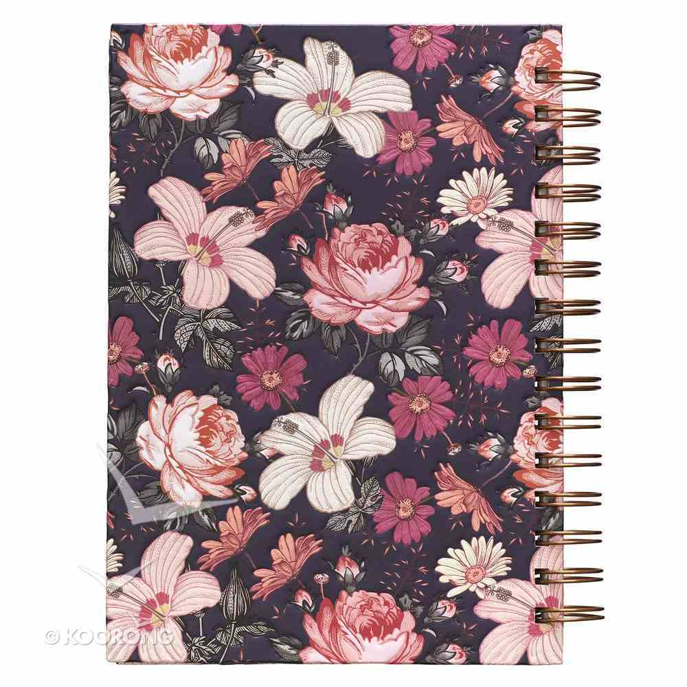 Journal: Love Mercy, Pink/White Floral on Dark Background Spiral