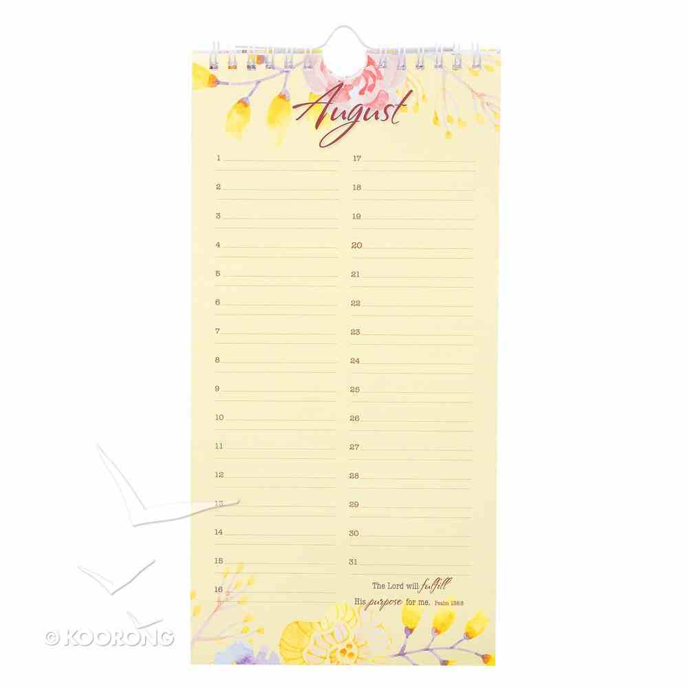 Undated Calendar: Special Days, Floral/Pink Spiral