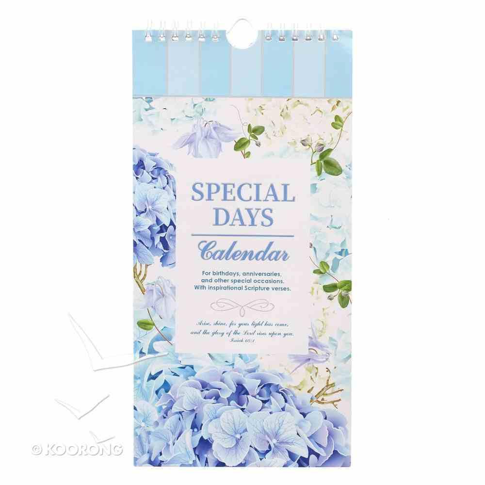 Undated Calendar: Special Days, Floral/Blue Spiral