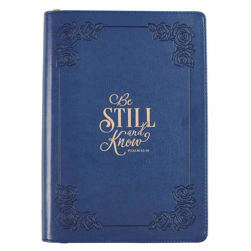 Journal With Zip Closure Be Still, Navy (Ps 46: 10) (Be Still And Know Collection) Imitation Leather