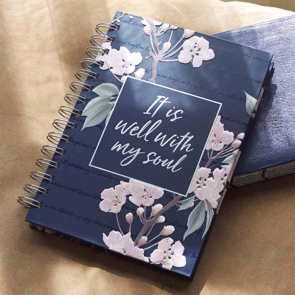 Journal: It is Well With My Soul, Navy Floral, Silver Foil (It Is Well Collection) Spiral