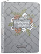2020 16-Month Weekly Diary/Planner: Delight Yourself in the Lord, Grey/Red/Green/White Floral Psalm 37:4 (Faux Ziparound) Imitation Leather