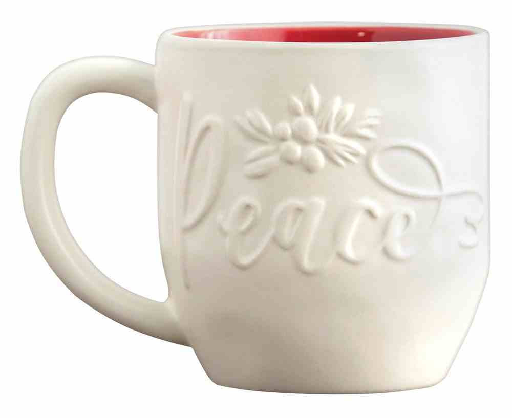 Ceramic Christmas Mug: Peace, Embossed Detail on Front (Psalm 46:10 On Back) Homeware