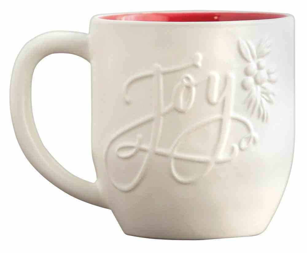 Ceramic Christmas Mug: Joy, Embossed Detail on Front (1 Samuel 2:1 On Back) Homeware