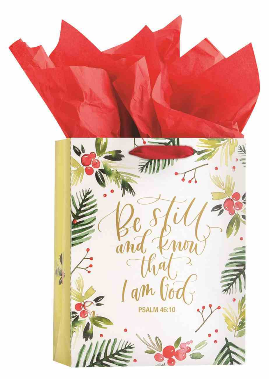 Christmas Gift Bag Medium: Be Still (Psalm 46:10 KJV) (Incl Two Sheets Of Tissue Paper) Stationery