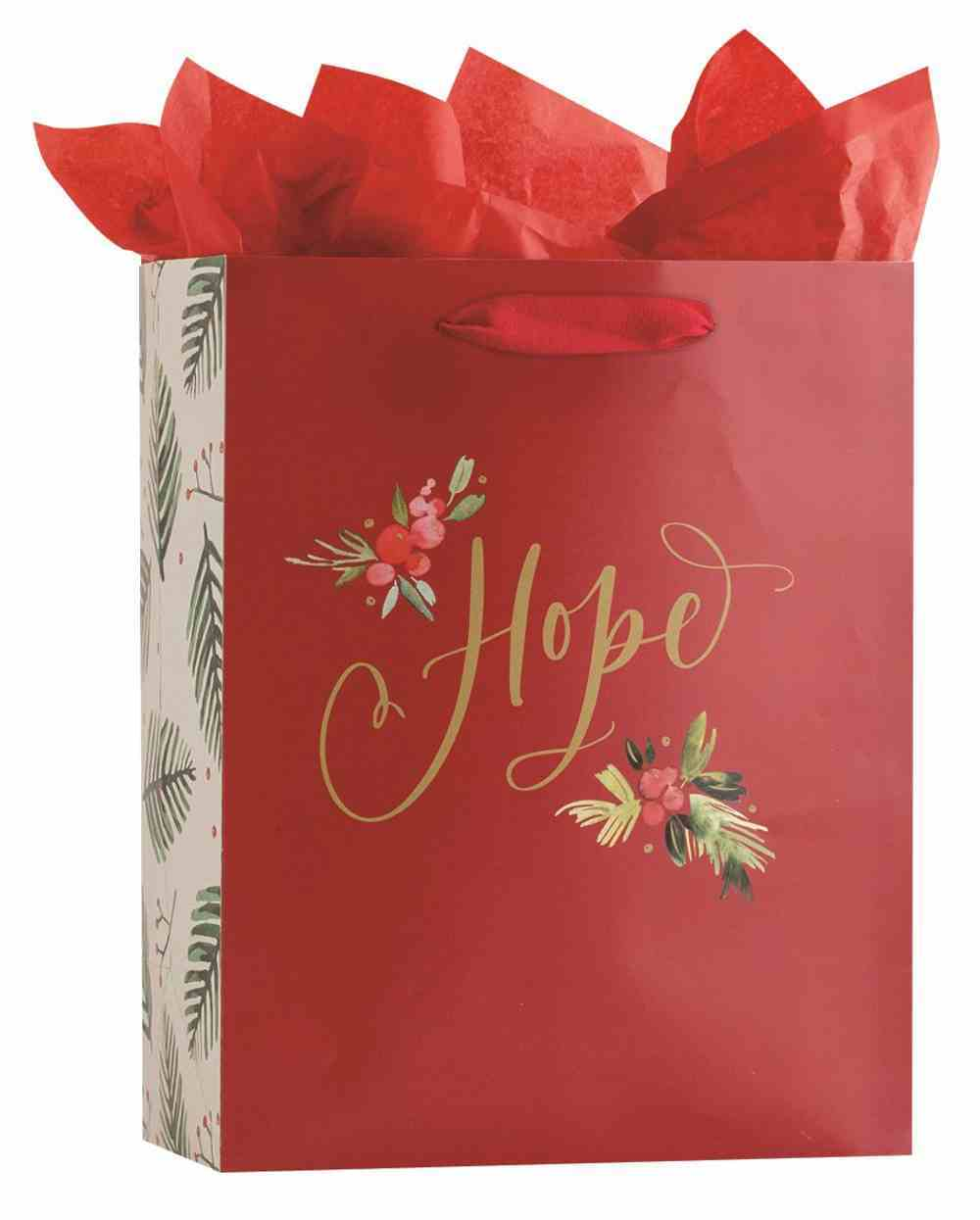 Christmas Gift Bag Large: Hope, Red With Flowers (Romans 15:13 KJV) (Incl Two Sheets Of Tissue Paper) Stationery