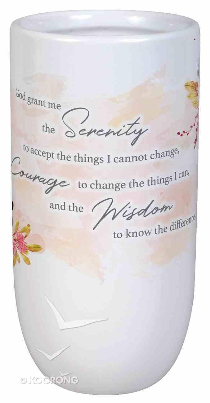 Ceramic Vase: Serenity Prayer, White Homeware