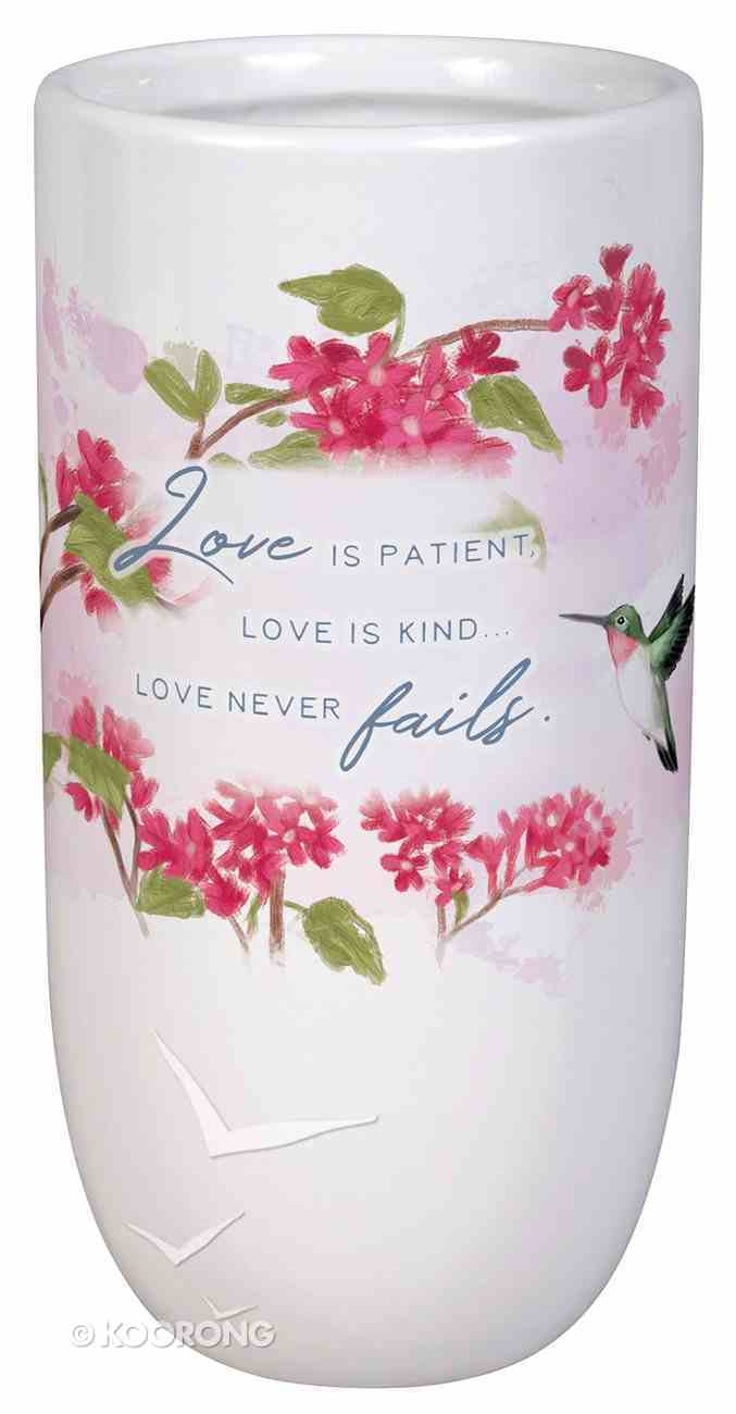 Ceramic Vase: Love is Patient, Floral/White Homeware