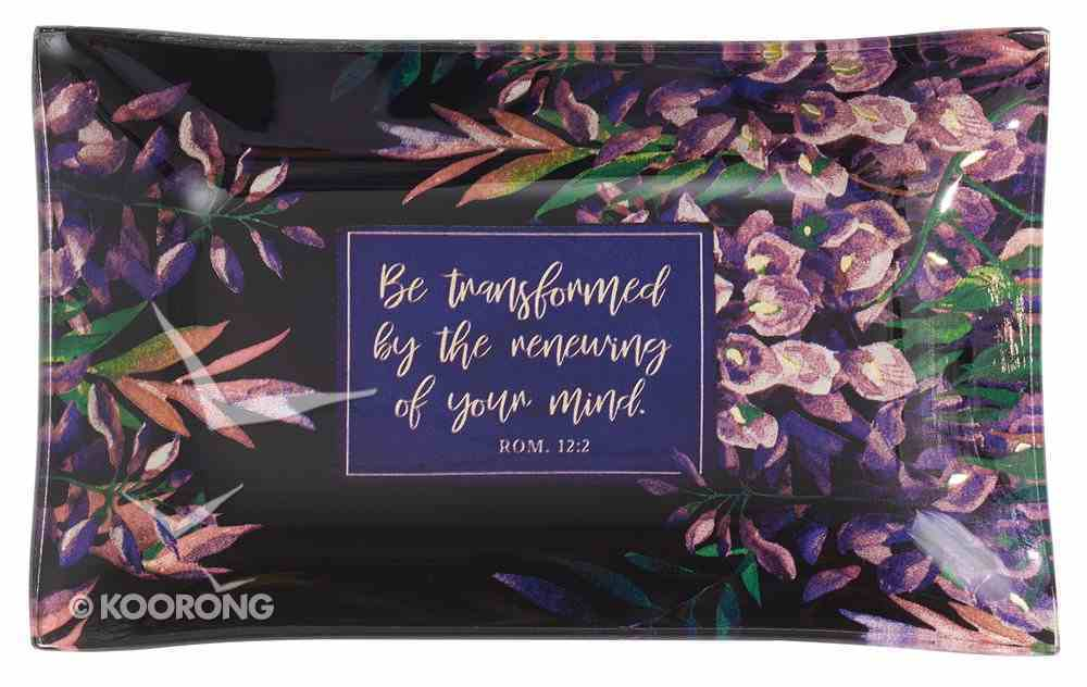 Ceramic Trinket Tray: Be Transformed, Navy Floral Homeware