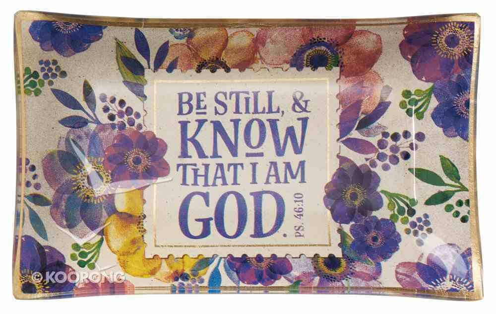 Ceramic Trinket Tray: Be Still & Know That I Am God, White/Floral (Psalm 46:10) Homeware