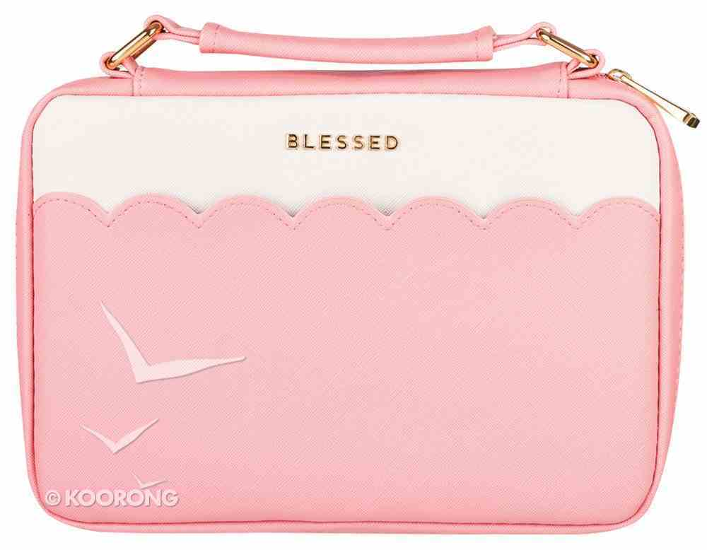 Bible Cover Fashion Large: Blessed, Pink/White, Carry Handle Bible Cover