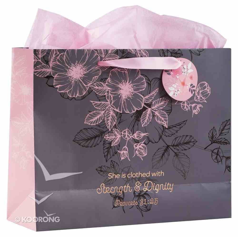 Gift Bag Xlarge: Strength & Dignity, Pink/Grey (Proverbs 31:25) Stationery