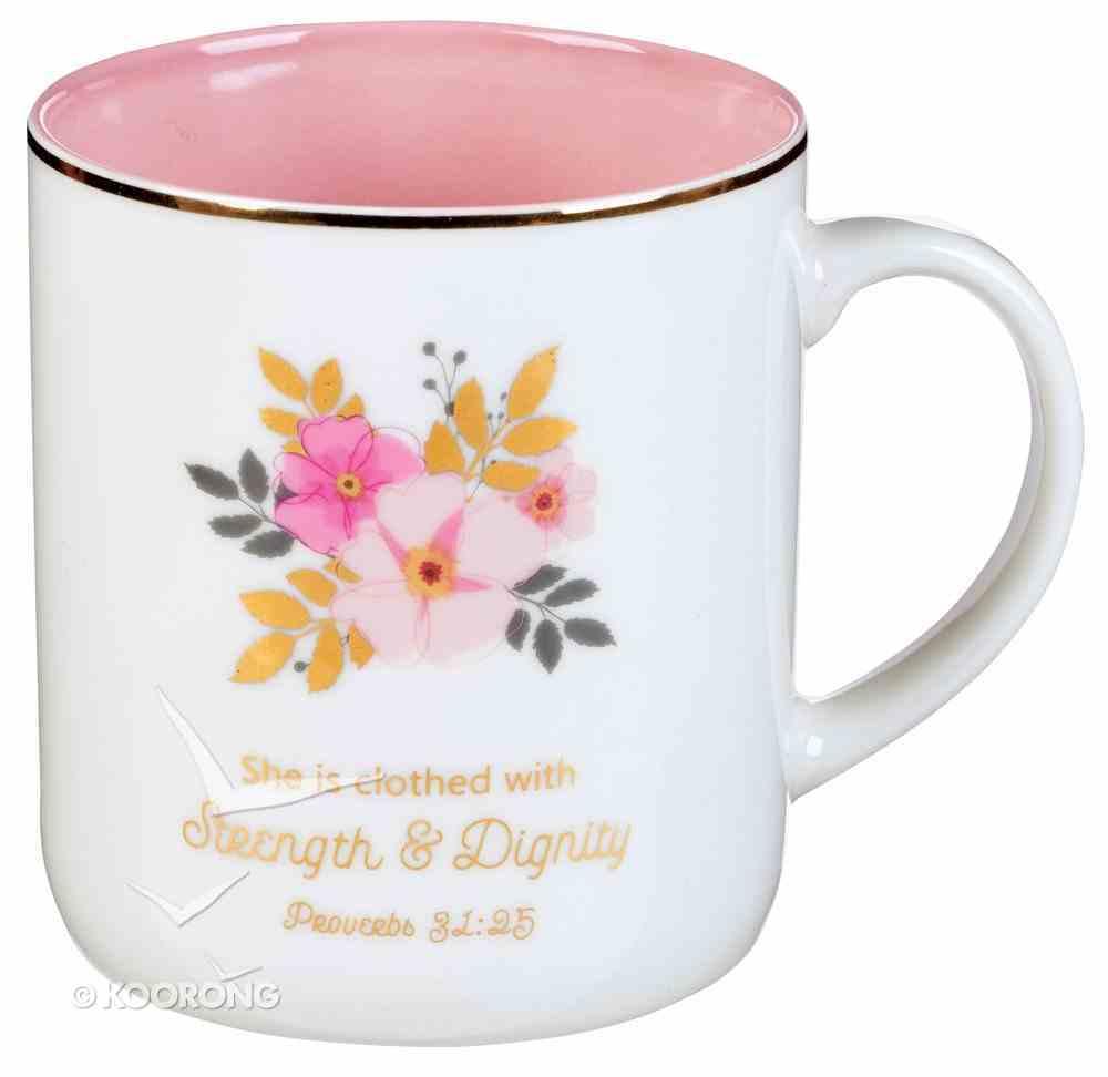 Ceramic Mug: Strength & Dignity, Pink Flowers (Proverbs 31:25) (414ml) Homeware