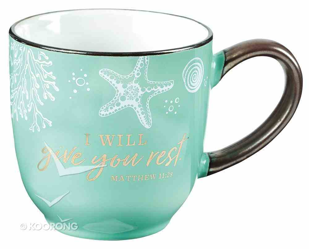 Ceramic Mug: Give You Rest Collection, Blue/White (Matthew 11:28) (330ml) Homeware