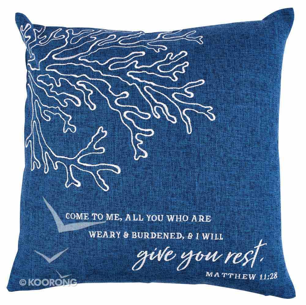 Square Pillow: Give You Rest, Dark Blue (Matthew 11:28) Soft Goods