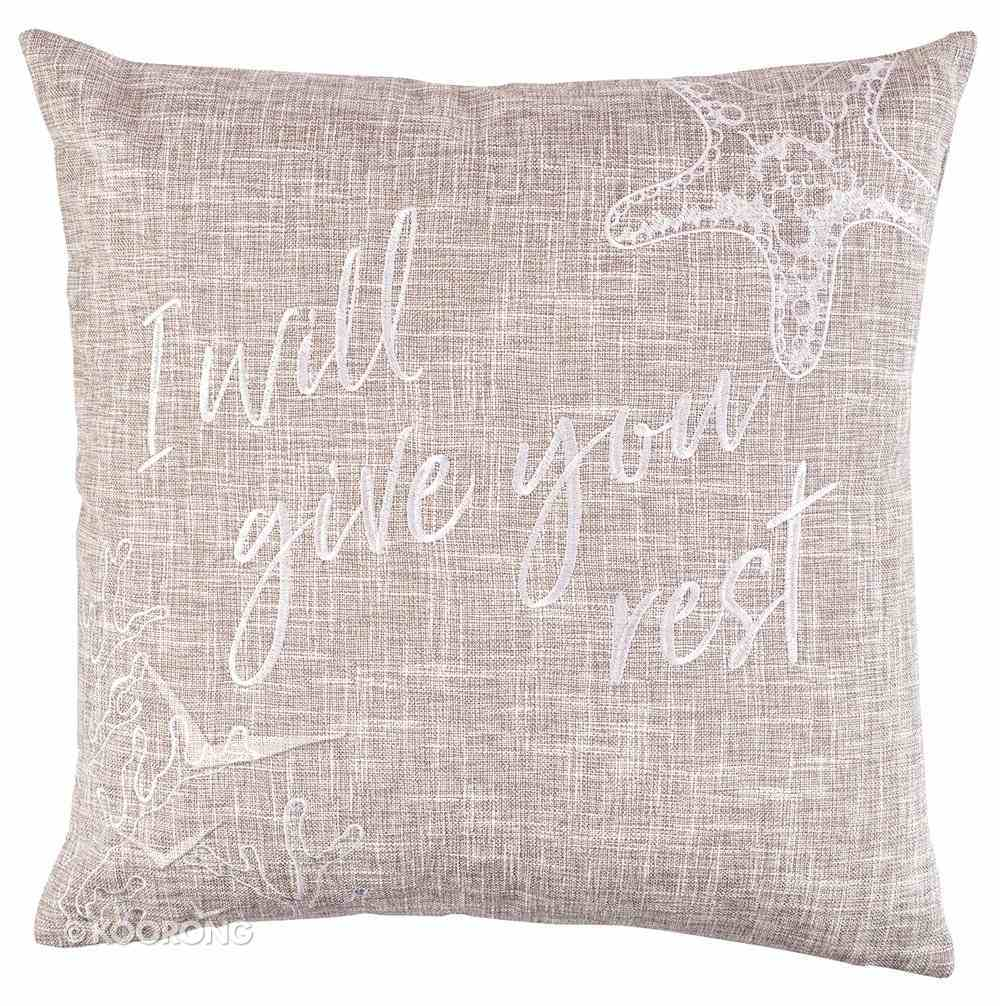 Square Pillow: I Will Give You Rest, Sand (Matthew 11:28) Soft Goods