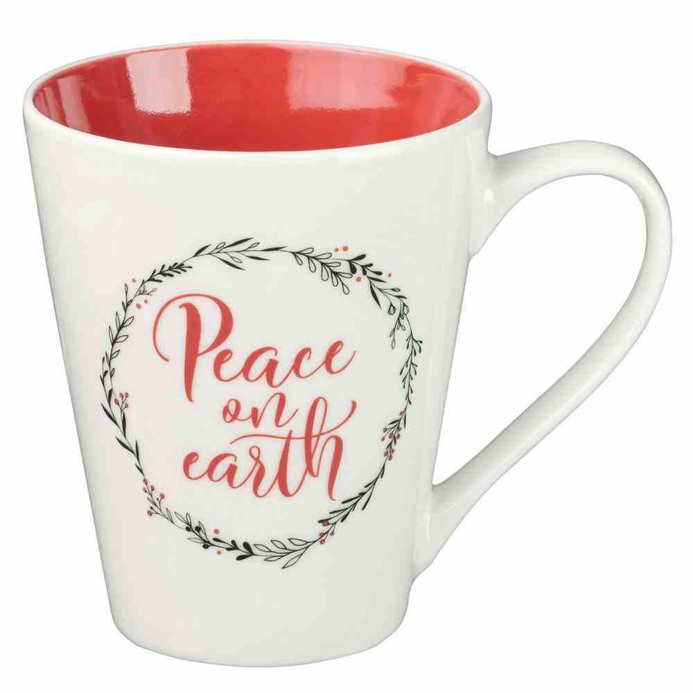 Ceramic Mug: Peace on Earth, Red Inside, White Outside 450ml Gift Box Homeware