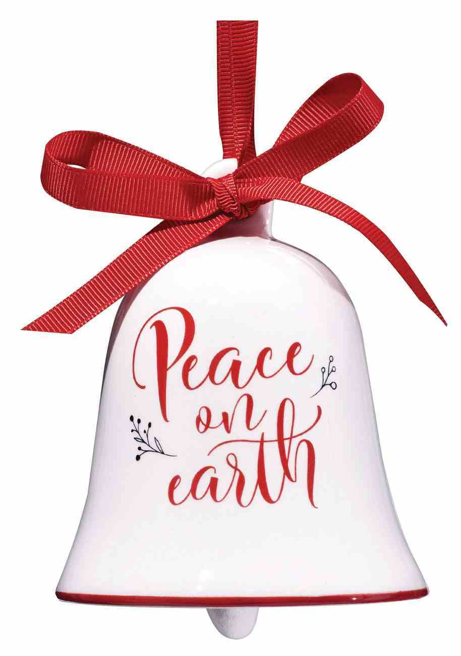 Bell Ornament: Peace on Earth Knotted Ribbon Hanger Porcelain Clapper Gift Box Homeware