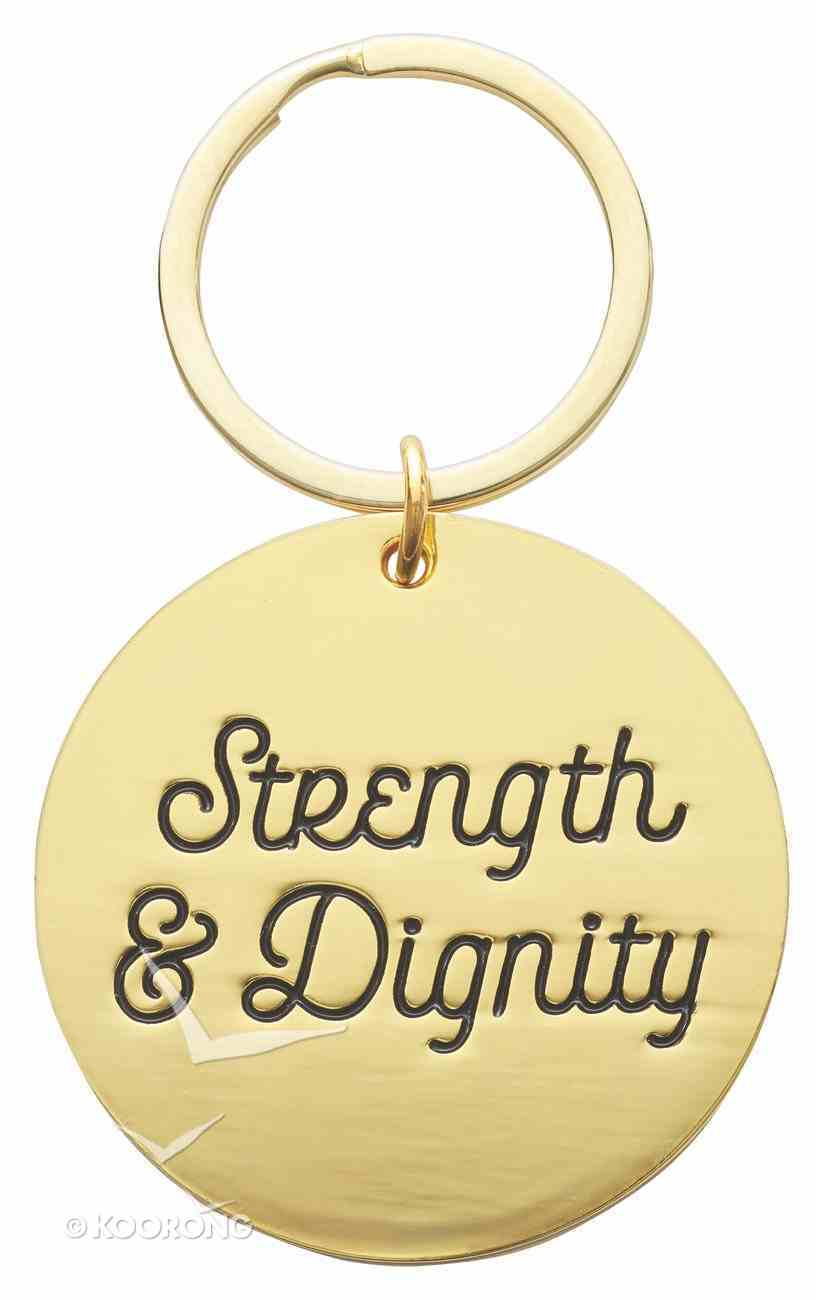 Metal Keyring in Tinbox: Strength & Dignity, Pink Flowers (Proverbs 31:25) Novelty