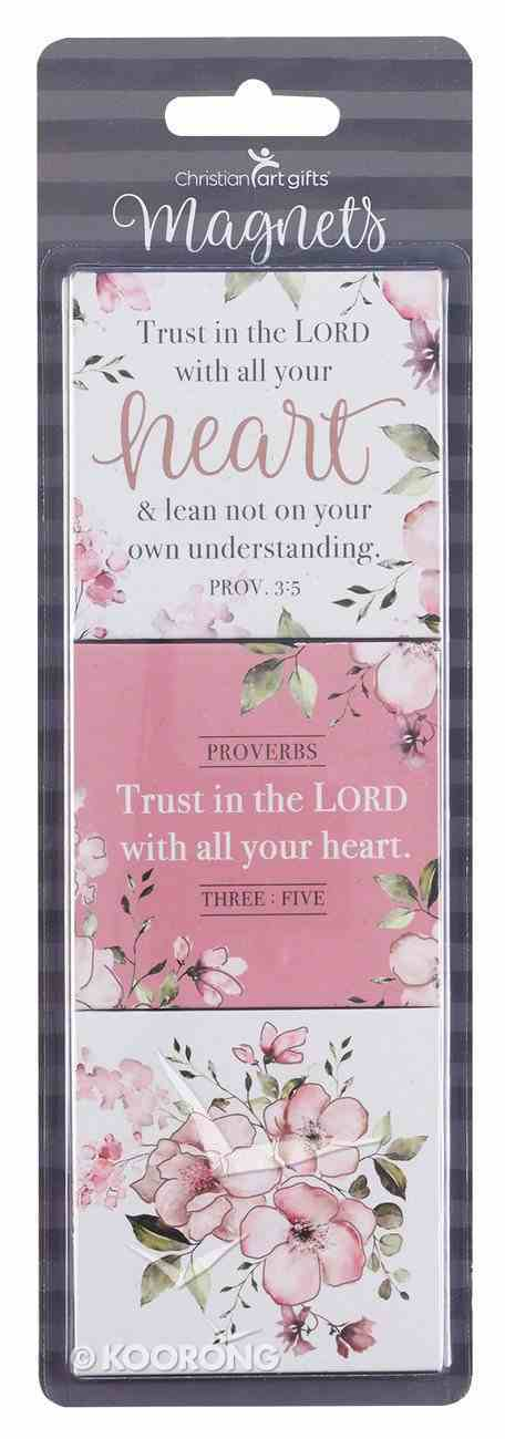 Magnet Set of 3: Trust in the Lord, Pink Floral (Proverbs 3:5) Novelty
