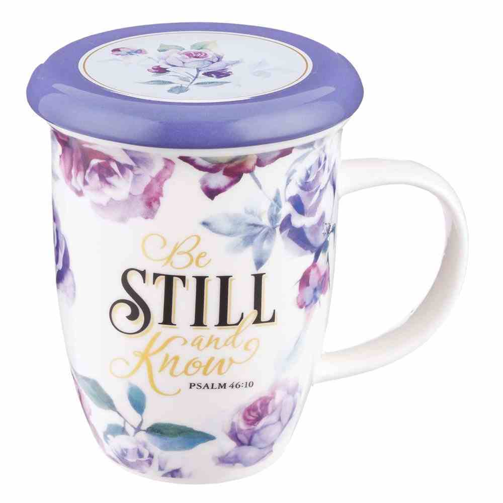 Ceramic Mug 384ml: Be Still and Know, Purple Floral (Ps 46:10) (With Lid/Coaster) (Be Still And Know Collection) Homeware