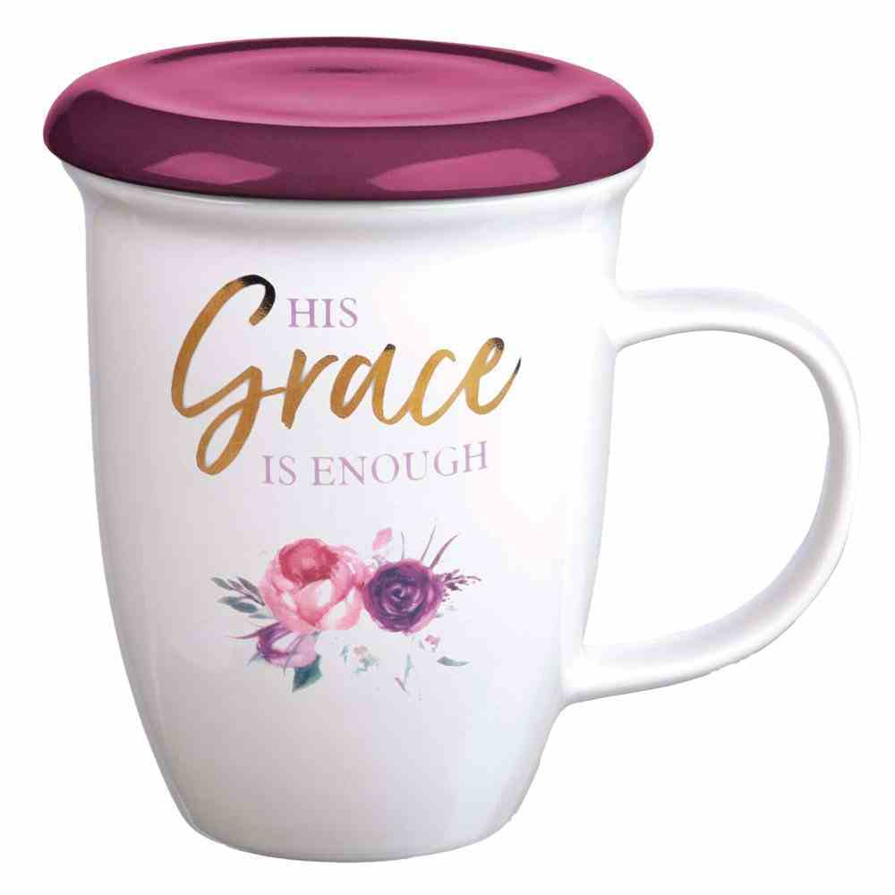 Ceramic Mug 384ml: His Grace is Enough, Burgundy (2 Cor 12:9) (With Lid/Coaster) (His Grace Is Enough Collection) Homeware