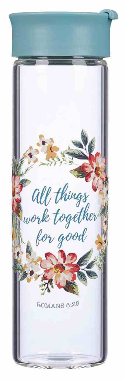 Water Bottle Clear Glass: All Things Work Together (Rom 8:28) Homeware