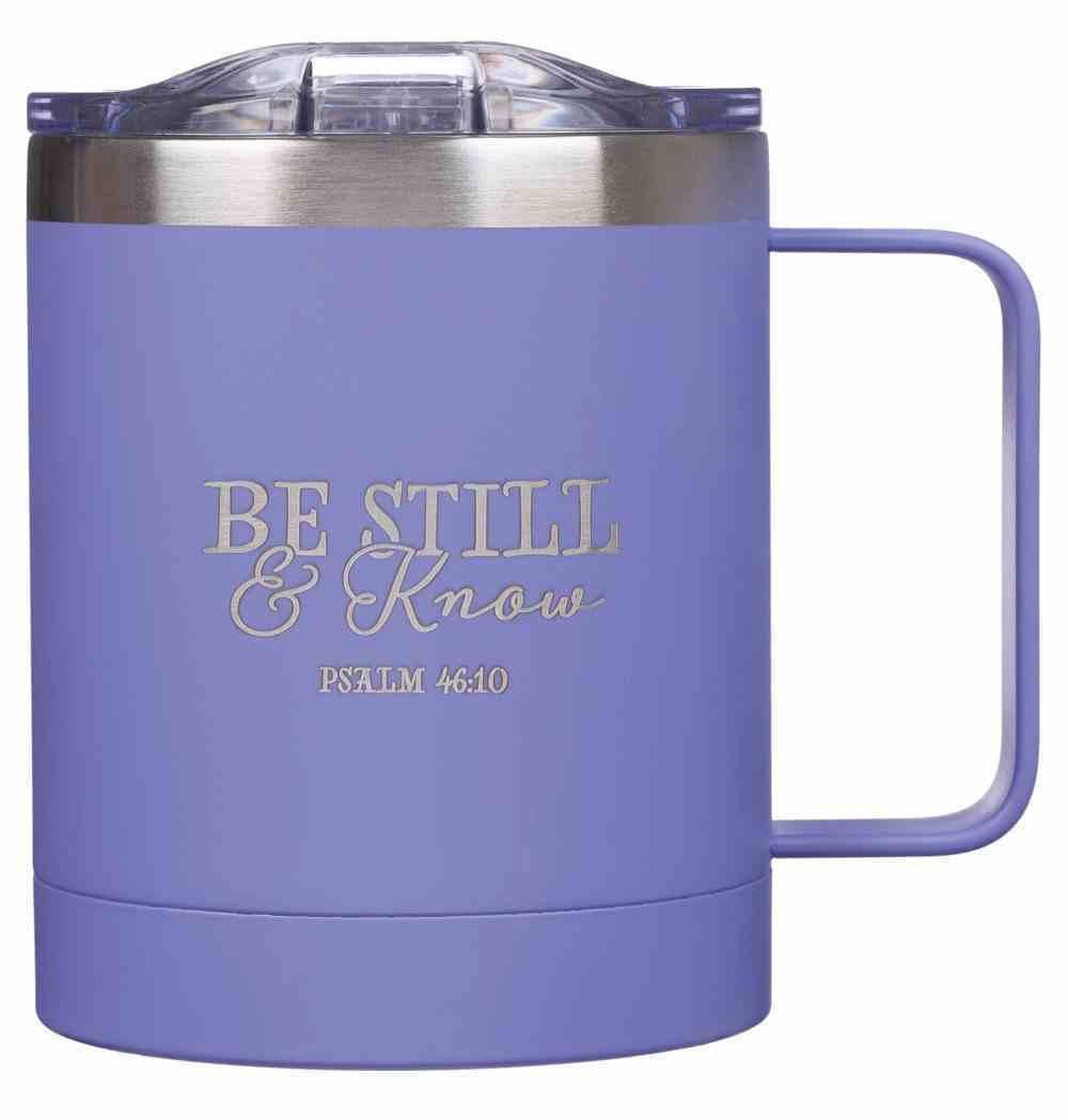 Camp Style Stainless Steel Mug: Be Still & Know (Ps 46:10) Purple (325ml) Homeware