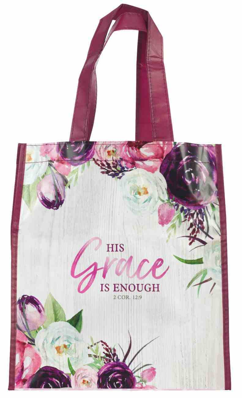 Non-Woven Tote Bag: His Grace is Enough Burgundy (2 Cor 12:9) (His Grace Is Enough Collection) Soft Goods