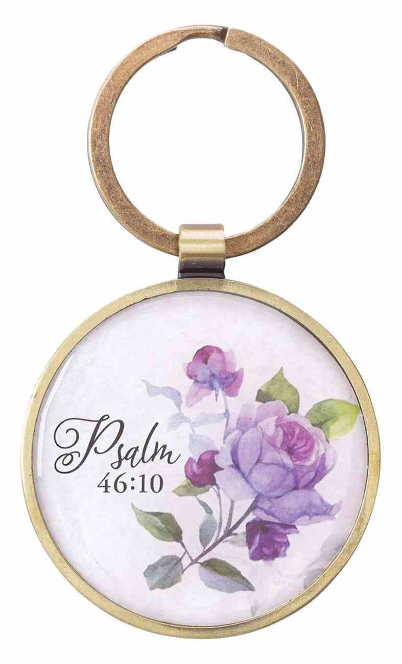 Keyring in Tin: Be Still Purple Floral Gold (Ps 46:10) (Be Still And Know Collection) Jewellery