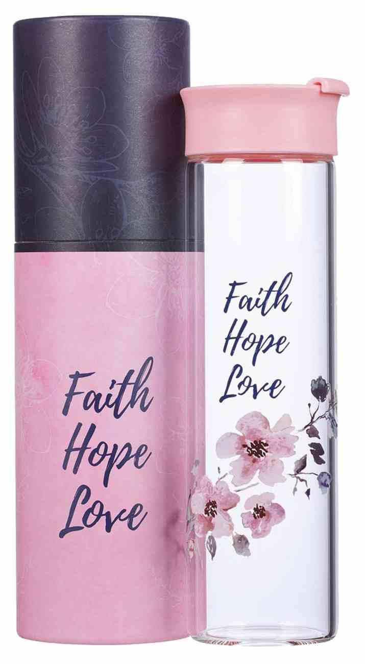 Water Bottle Clear Glass: Faith Hope Love, Pink Homeware