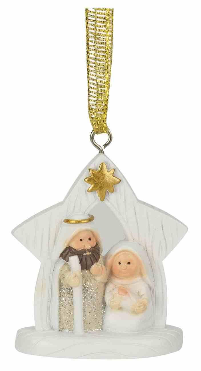 Christmas Ornament: Glitter Holy Family in Creche, Resin Homeware