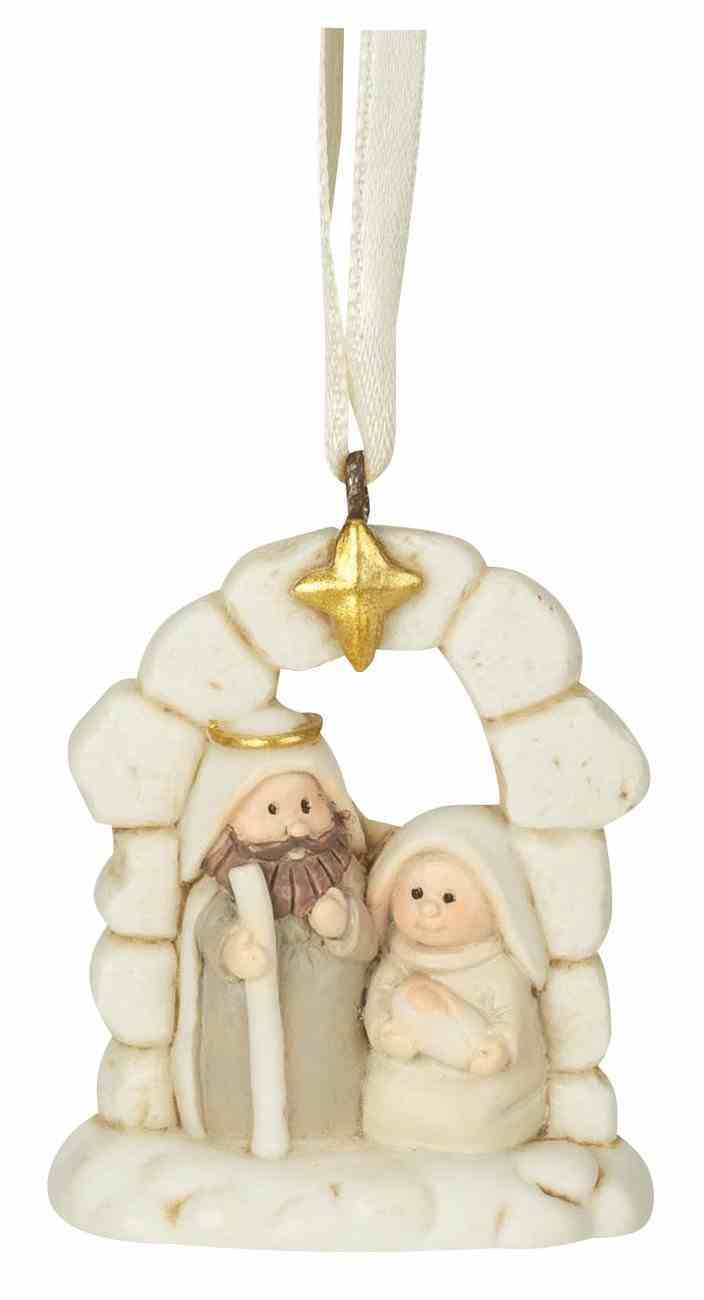 Christmas Ornament: Holy Family in Creche, Resin Homeware