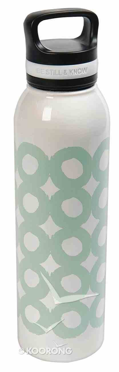 Water Bottle 730ml Stainless Steel: Be Still and Know, White With Green Circles (The Joy of the Lord) (Everyday Hospitality Series) Homeware
