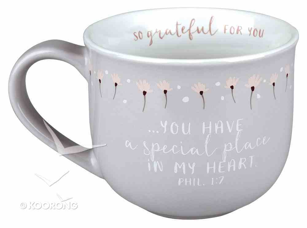Ceramic Mug Grateful For You: Special Place, White Inside/Gray-Green With Flowers Outside (Phil 1:7) Homeware