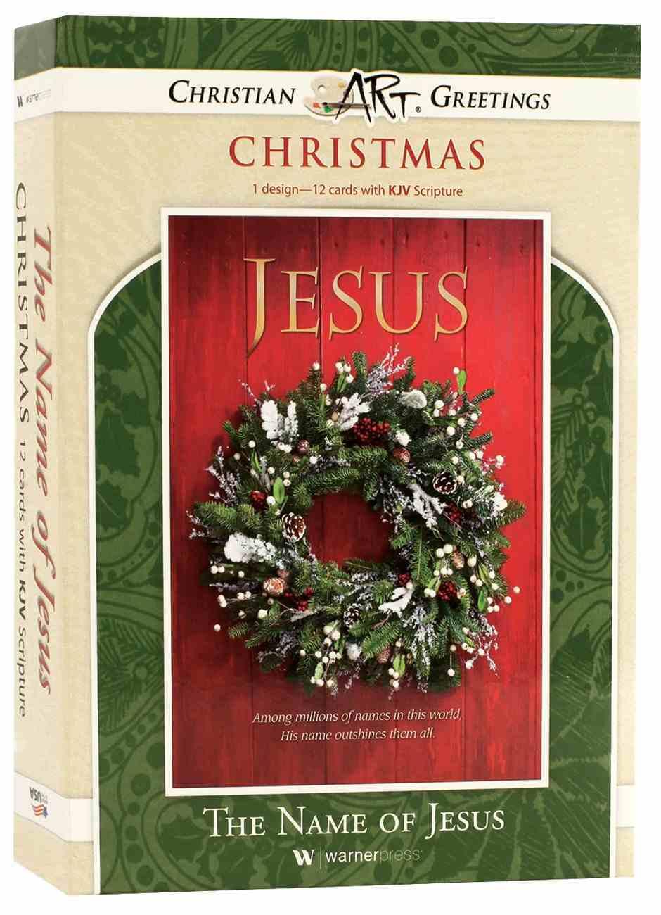 Christmas Boxed Cards: The Name of Jesus, Green Wreath (Matt 1:21 Kjv) Box