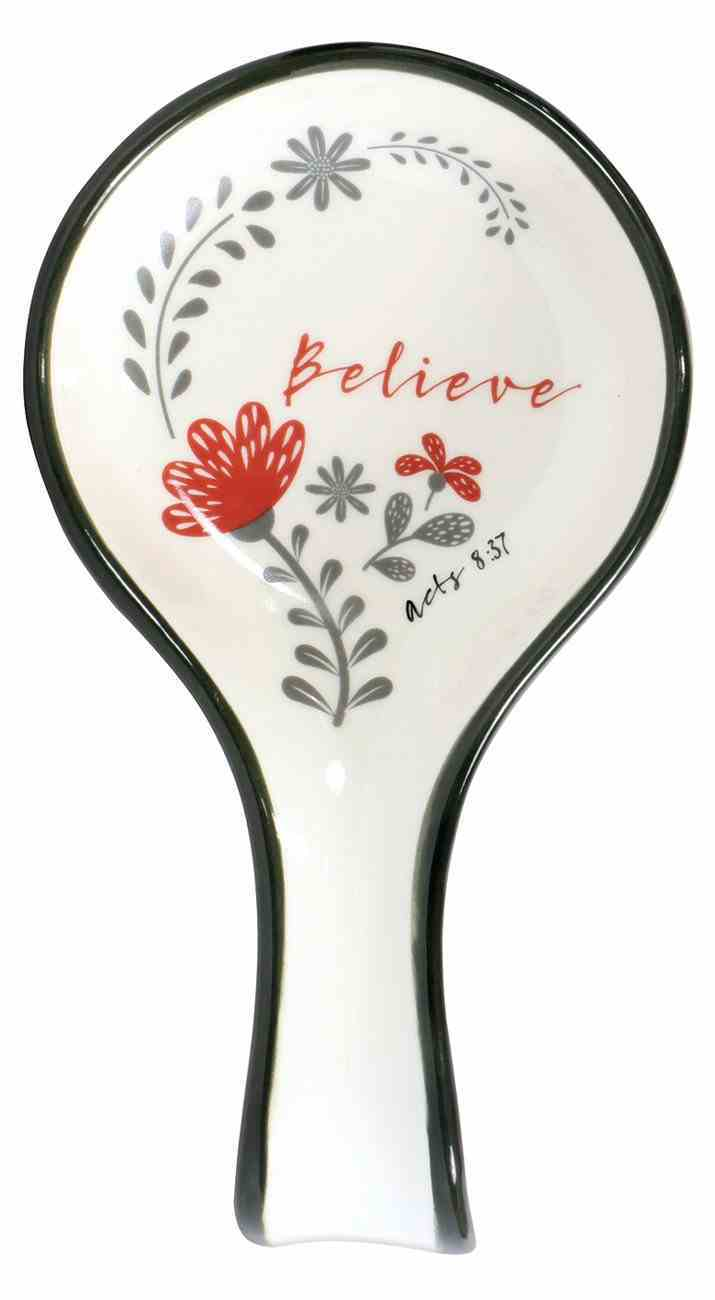 Ceramic Spoon Rest: Believe, White/Red/Black (Acts 8:37) (Scribbles Kitchen Collection) Homeware