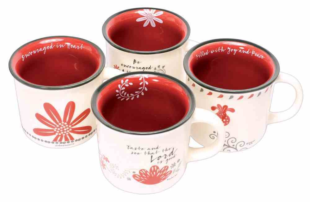 Ceramic Mugs : Taste and See That the Lord is Good, White/Red/Black (Set of 4) (Scribbles Kitchen Collection) Homeware