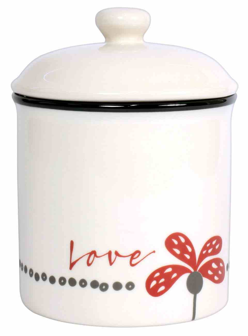 Ceramic Canister: Love, White/Red/Black (Scribbles Kitchen Collection) Homeware