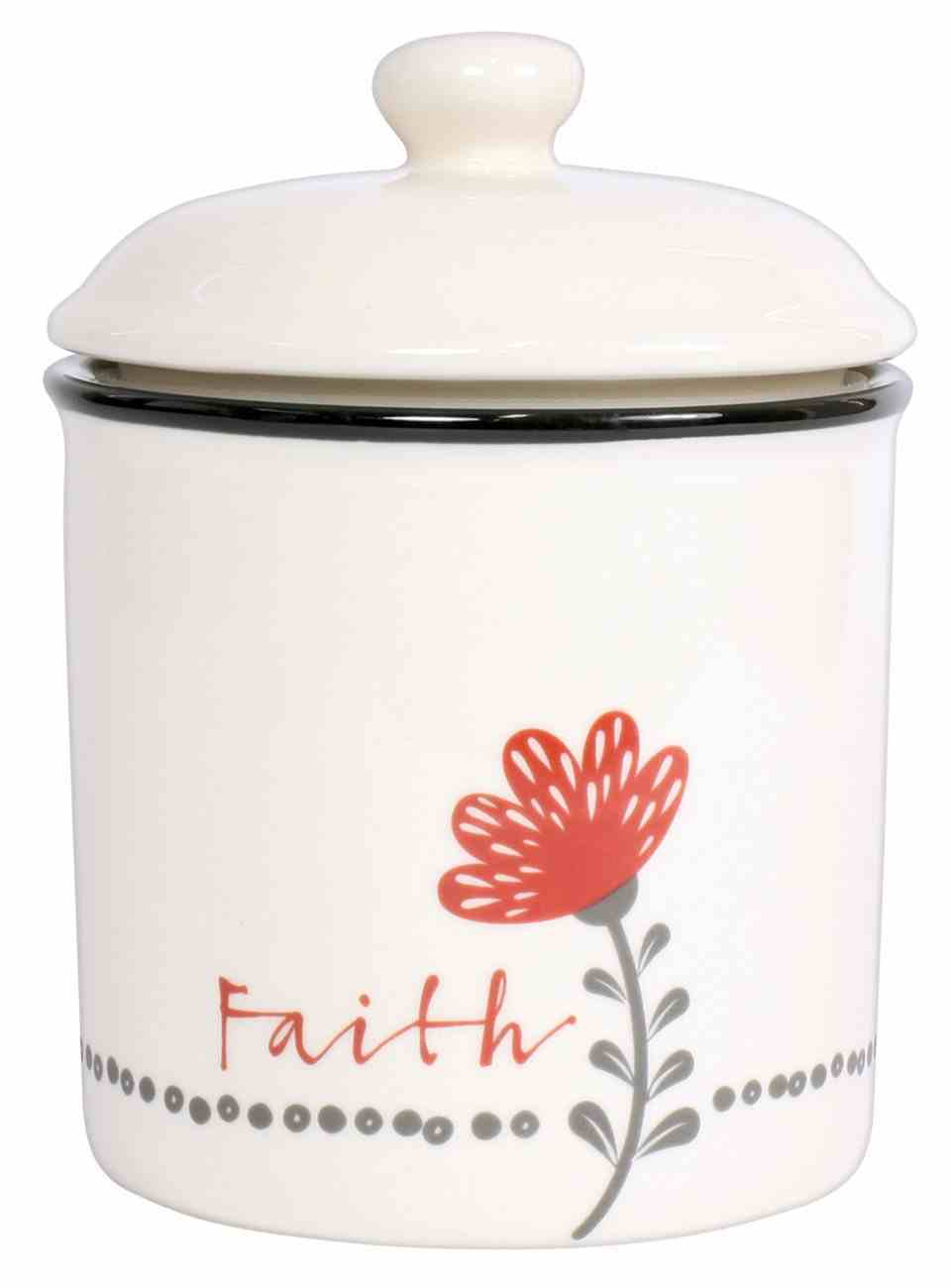 Ceramic Canister: Faith, White/Red/Black (Scribbles Kitchen Collection) Homeware
