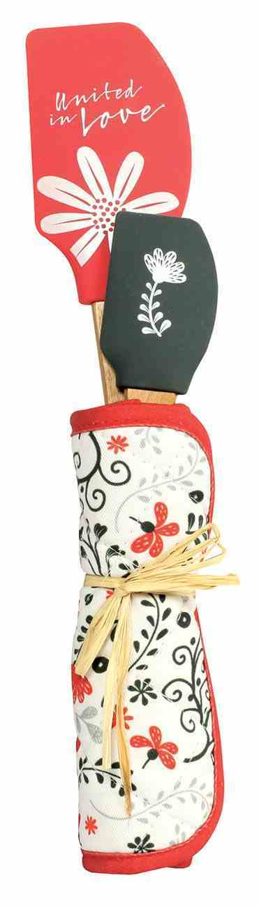 Spatula & Potholder Set: United in Love, White/Red/Black (Scribbles Kitchen Collection) Homeware