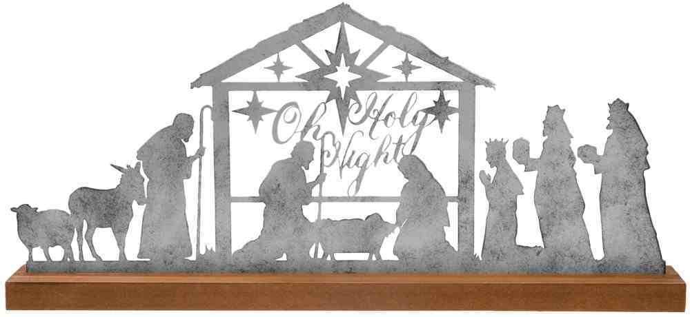 Christmas Rusty Look Silver Metal Nativity With Wood Stand: Oh Holy Night Homeware