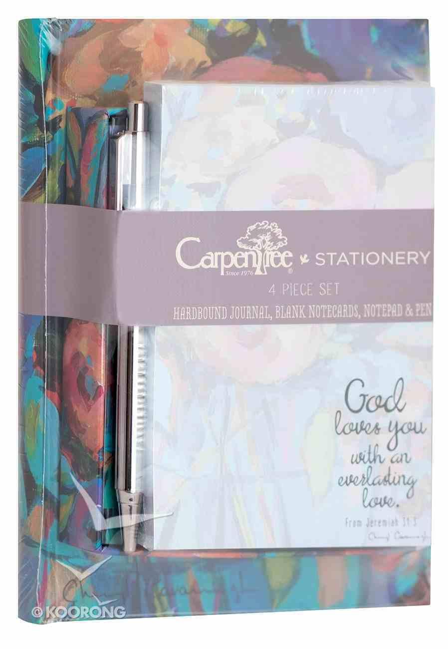 4 Piece Stationery Set: Journal, Blank Notecards, Notepad & Pen, God Loves You Stationery