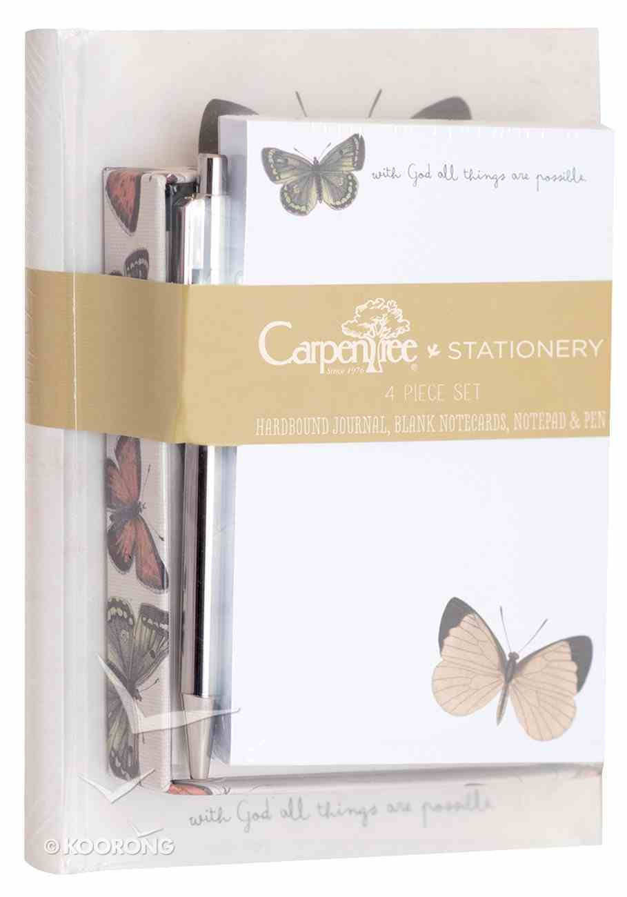 4 Piece Stationery Set: Journal, Blank Notecards, Notepad & Pen, All Things Are Possible Stationery